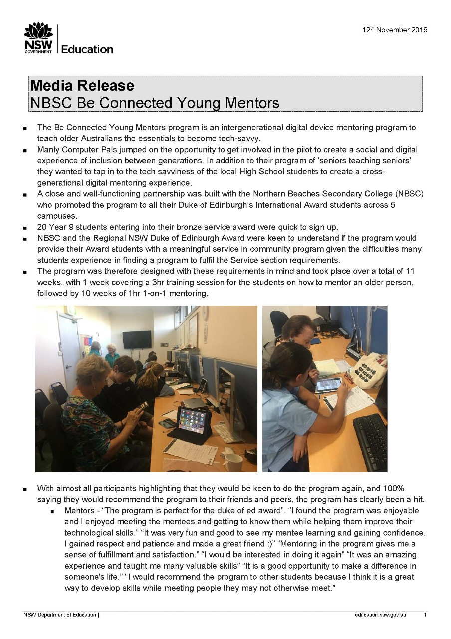 NBSC Be Connected Young Mentors