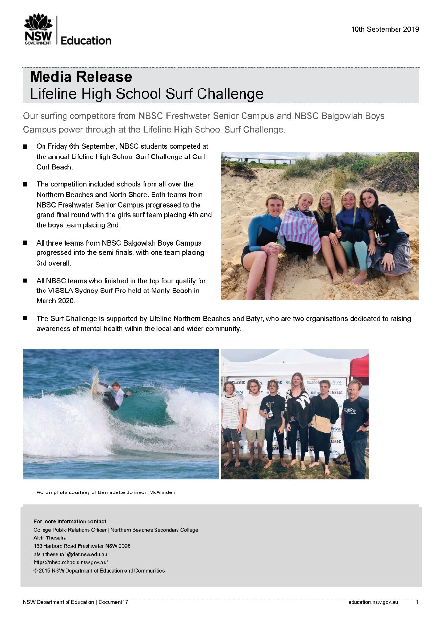 Lifeline High School Surf Challenge