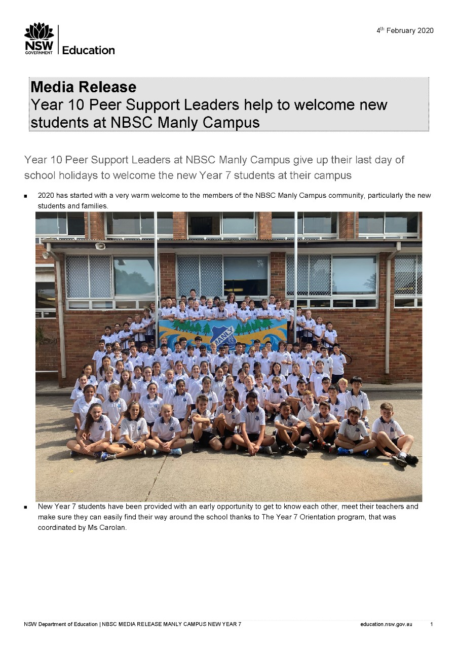 Year 10 Peer Support Leaders NBSC Manly Campus